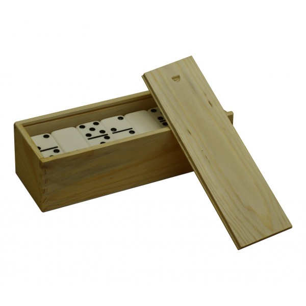 dbl 6 natural finish wooden box  dominoes not included
