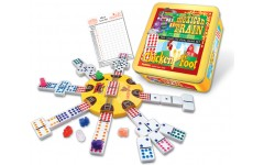 Mexican Train And Chickenfoot Combo Domino Set In Tin
