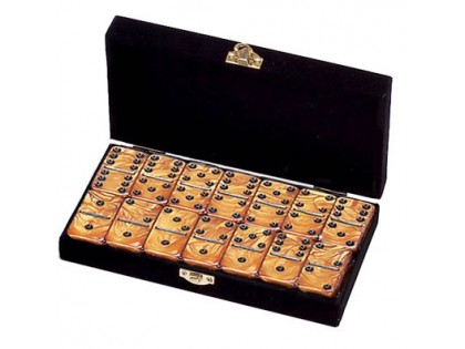Double Six Engraved Dominoes without spinners in velvet box Tournament Jumbo